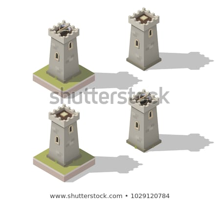 Isometric medieval castle with fortified wall and towers Stock photo © gomixer
