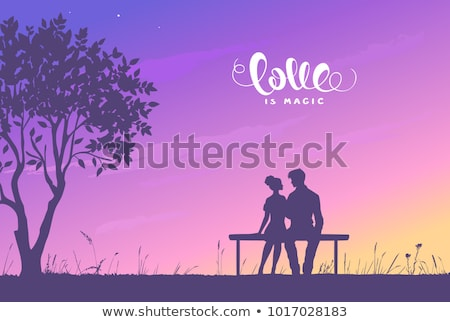 Silueta Pareja amor puesta de sol mujer playa Foto stock © koca777