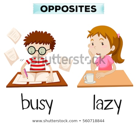 Naprzeciwko słowa zajęty leniwy ilustracja dziewczyna Zdjęcia stock © bluering
