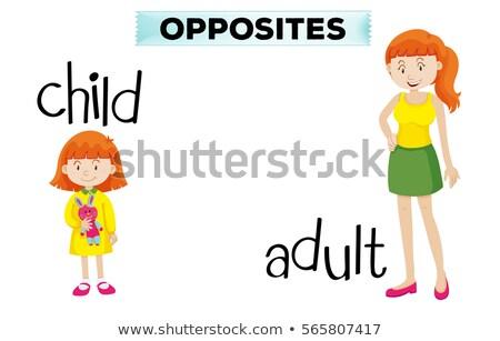 Stock fotó: Ellenkező · gyermek · felnőtt · illusztráció · nő · háttér