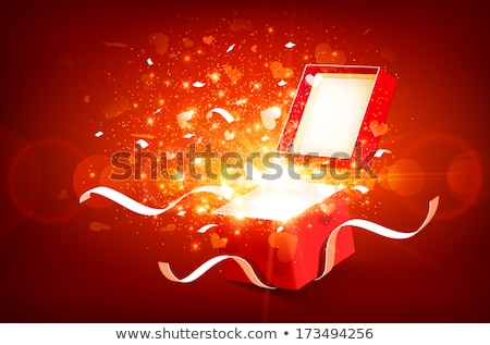 Stock foto: Magie · öffnen · Geschenk · Herzen · rot · Geburtstag