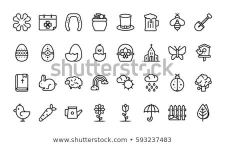 húsvét · vonal · ikon · tojás · terv · tavasz - stock fotó © voysla