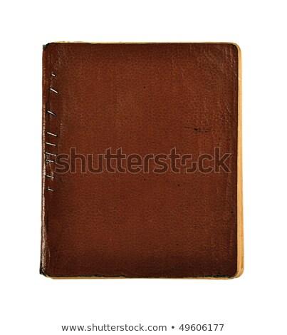 bruin · leder · boek · tijdschrift · dekken - stockfoto © frannyanne