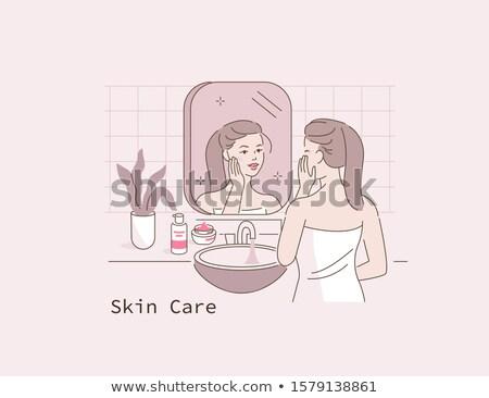 красивая девушка Постоянный полотенце красивой улыбаясь Сток-фото © svetography