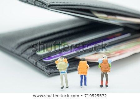 miniature traveler on dollar banknotes Stock photo © nito