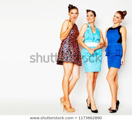 many girlfriends hugging celebration on white background smilin stock photo © iordani