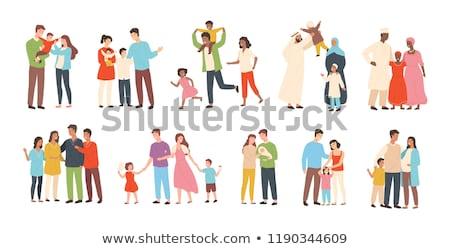 traditional arab couple vector flat illustration cartoon is stock photo © nikodzhi