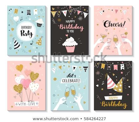szczęśliwy · karty · szablon · świetle · gwiazdki · ilustracja - zdjęcia stock © bluering