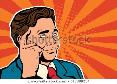Vektor kézzel rajzolt pop art illusztráció agy retró stílus Stock fotó © curiosity