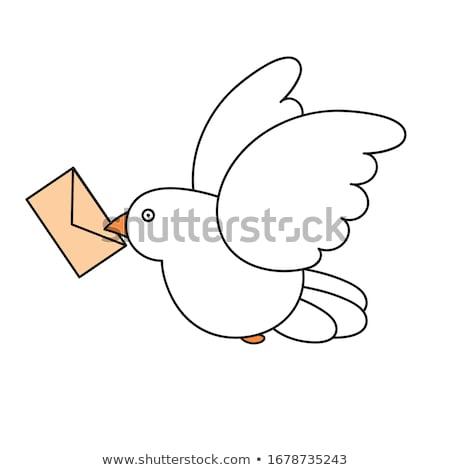 Vector stijl illustratie post duif icon Stockfoto © curiosity