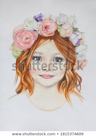 портрет имбирь женщину цветок волос счастливым Сток-фото © deandrobot