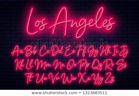 Neon alphabet script font glowing letters set. Stock photo © Andrei_