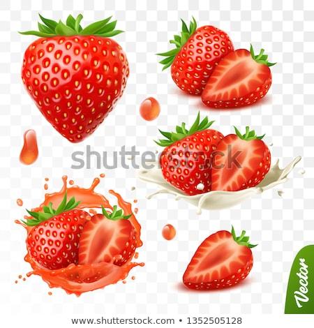 morango · foto · delicioso · frutas · verde · pano - foto stock © yelenayemchuk