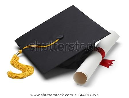 Afstuderen cap diploma scroll hoek onderwijs Stockfoto © timurock