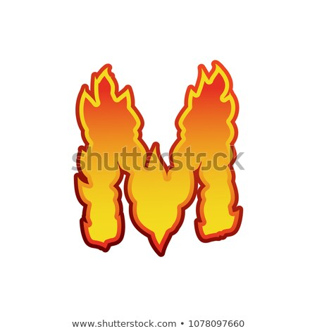 Letter M fire. Flames font lettering. Tattoo alphabet character. Stock photo © popaukropa