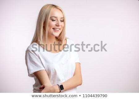 Zijaanzicht mooie model blond kort haar Stockfoto © julenochek