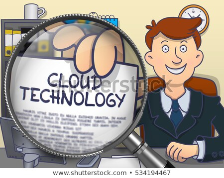 Technologie Innovation Lupe Doodle Stil Papier Stock foto © tashatuvango