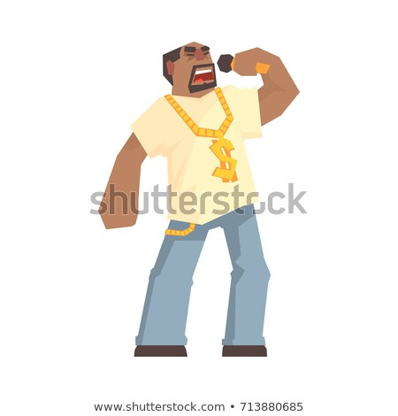 professional rapper vector male singer with microphone cartoon character illustration stock photo © pikepicture