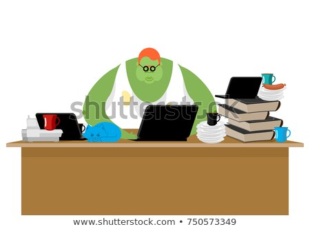 Stock photo: Internet trol. Big green monster and laptop. Vector illustration
