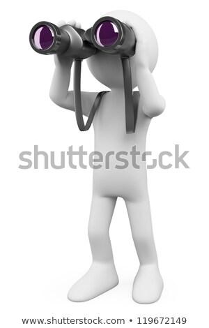 man with binocular on white background isolated 3d image stock photo © iserg
