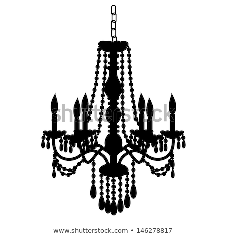Baroque chandelier silhouette vector illustration © Ela ...