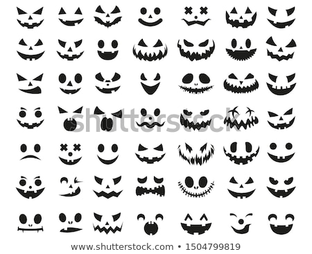 Happy Halloween vector illustration with creepy pumpkin face on dark background. Holiday design for  Stock photo © articular