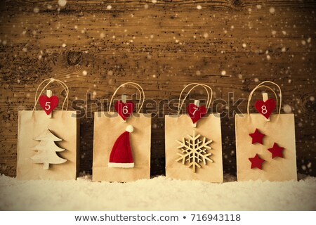 christmas shopping bag in a row instagram filter snowflakes stock photo © nelosa
