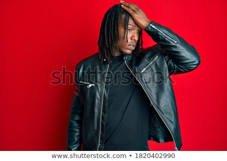 Portret verward afrikaanse man Stockfoto © deandrobot