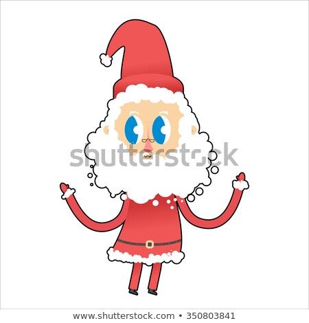 Cute Santa Claus with big eyes. Young Santa raised his hands up. Stock photo © popaukropa
