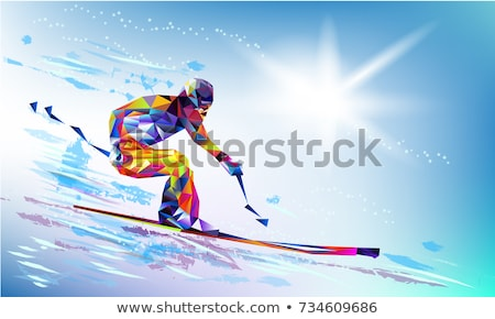snowboarder silhouette, giant slalom snowboarding, winter sports Stock photo © rogistok