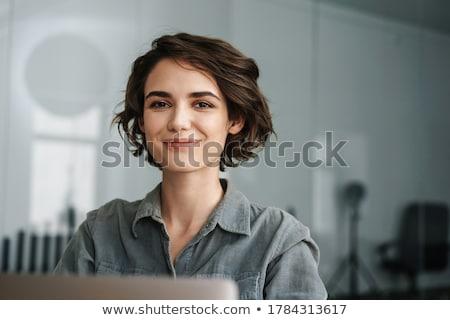 Fiatal gyönyörű boldog fiatal nő fogszabályozó pózol Stock fotó © hsfelix