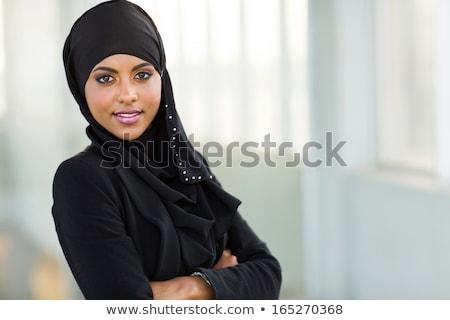 Emiraty business woman piękna czarnej kobiety odizolowany Zdjęcia stock © NikoDzhi