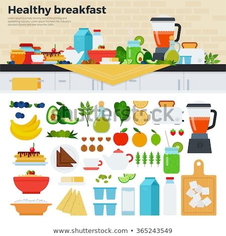 wheat porridge and fruit juice breakfast healthy food vector i stock photo © maryvalery