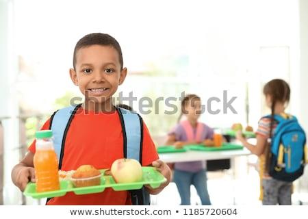 lány · eszik · ebéd · gyerekek · háttér · művészet - stock fotó © bluering