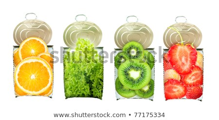 Salade de fruits aluminium peuvent illustration alimentaire fond Photo stock © bluering