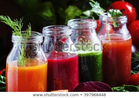 Detoxikáló zöldség smoothie étel üveg háttér Stock fotó © M-studio