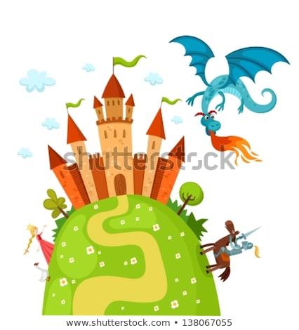 замок дракон Knight Cartoon Cute Сток-фото © Krisdog