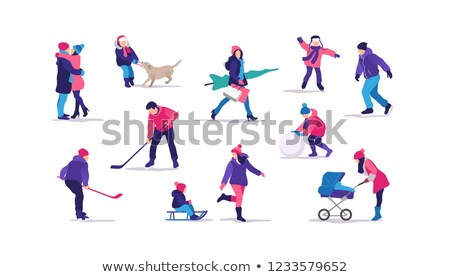 Stockfoto: Wintertime Park Activities Vector Illustration