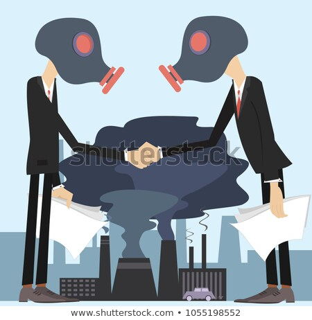 Two men in the gas mask conclude an agreement and shake hands concept illustration Stock photo © tiKkraf69