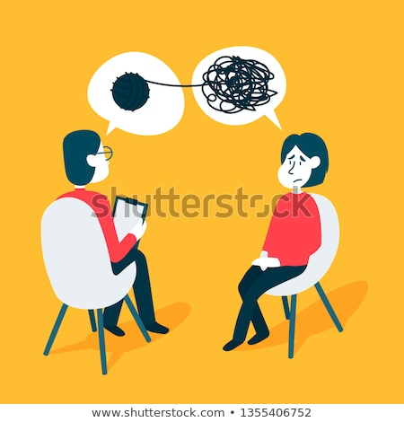 Stok fotoğraf: A Man Visiting A Psychologist - Cartoon People Character Isolated Illustration