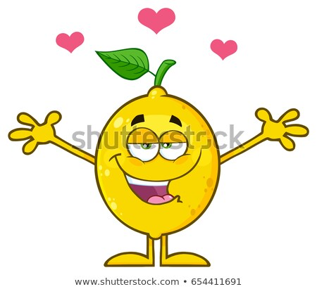 Feliz limón fruta fresca hoja verde mascota de la historieta carácter Foto stock © hittoon