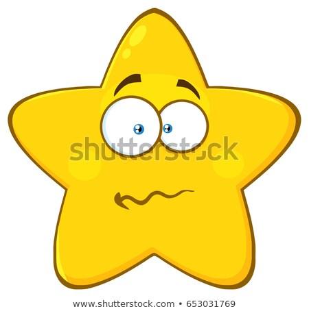 Nervioso amarillo estrellas Cartoon cara carácter Foto stock © hittoon