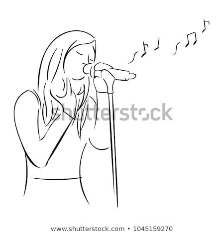 Cartoon певицы женщину изолированный иллюстрация микрофона Сток-фото © tiKkraf69