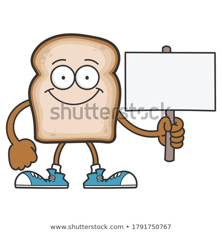 Smiling Bread Slice Cartoon Mascot Character Holding A Blank Sign Stock photo © hittoon