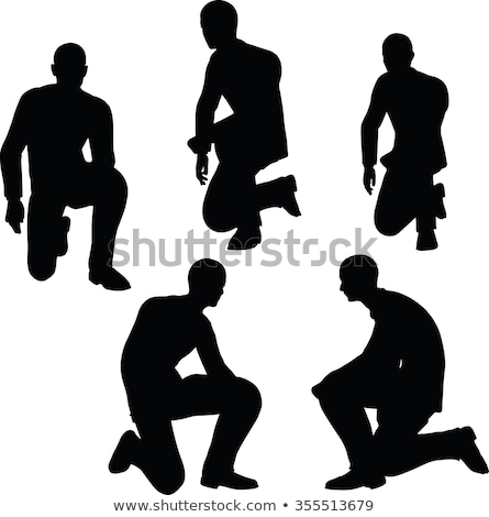 Businessman standing on one knee vector illustration. Stock photo © RAStudio