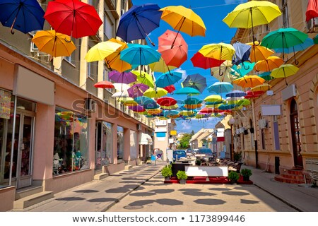 Town of Sombor colorful umbrella street Stock photo © xbrchx