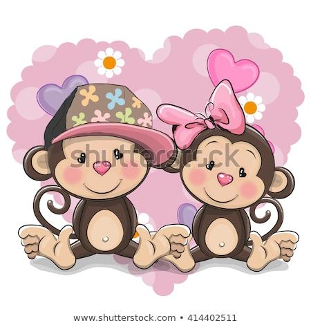 два Cute Cartoon Обезьяны иллюстрация счастливым Сток-фото © bluering