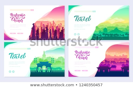 Top rated tourist attractions in china brochure cards set. Best Tourist Attractions in China templat Stock photo © Linetale