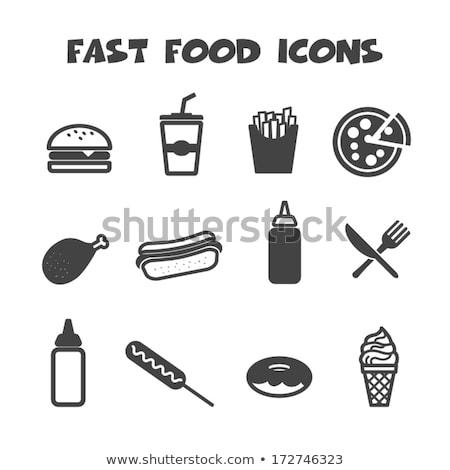 Silhouet hamburger fastfood restaurant pop art retro vintage Stockfoto © studiostoks