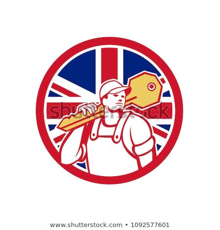 Brit lakatos brit zászló zászló ikon retró stílus Stock fotó © patrimonio